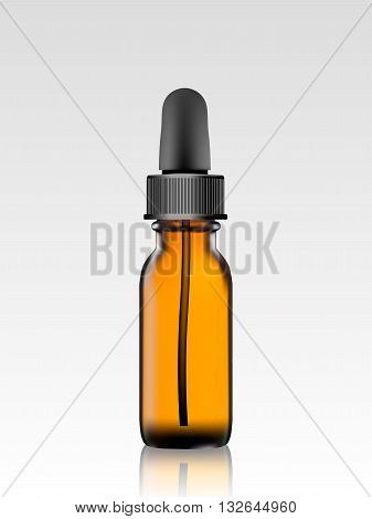 essential oil package isolated. 3D illustration. vector. Realistic essential oil bottle. Mock up. Cosmetic vial, flask, flacon. Perfume Container . Cosmetic dropper-bottle for serum. Collagen serum
