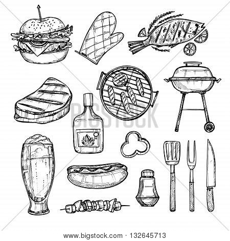 Hand drawn vector illustration - BBQ elements (grill hot dog. hamburger fish beer meat). Fast food collection. BBQ party