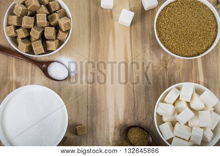 Cane And White Sugar In A White Bowls