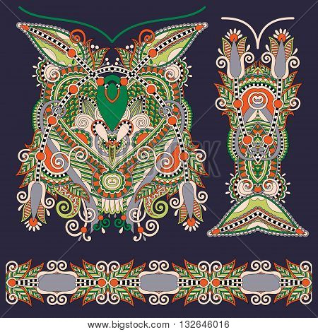 Neckline ornate floral paisley embroidery fashion design, ukrainian ethnic style. Good design for print clothes or shirt. Vector illustration