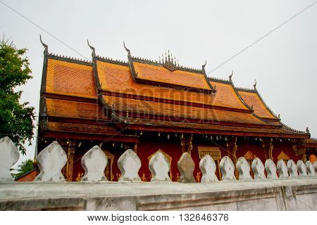 Buddhist Temple. The Roof Of The Temple.luang Prabang.laos.