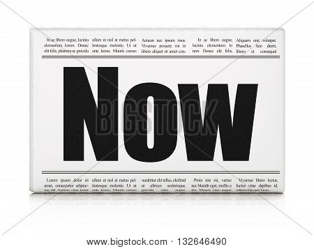 Time concept: newspaper headline Now on White background, 3D rendering