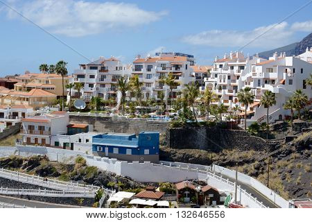 PUERTO DE SANTIAGO, TENERIFE - APRIL 18, 2016: A beautiful view of the traditional architecture of Puerto de Santiago, in Tenerife , Spain