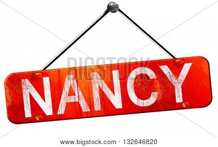nancy, 3D rendering, a red hanging sign