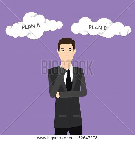 plan a plan b businessman think using suit and tie and cloud sign vector graphic illustration