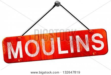 moulins, 3D rendering, a red hanging sign