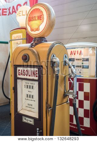 Verona Italy - May 9 2015: Detail of an old fuel pump restored.