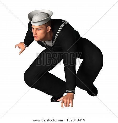 3D rendering of a young seaman isolated on white background