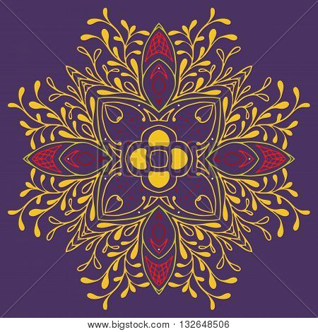 Detailed floral scarf design. Gorgeous floral patchwork pattern from colorful Moroccan tiles, tribal ornaments. For print, pattern fills, web page background. Gold Purple red violet lilac.