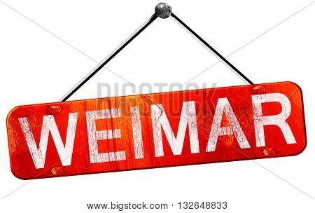 Weimar, 3D rendering, a red hanging sign