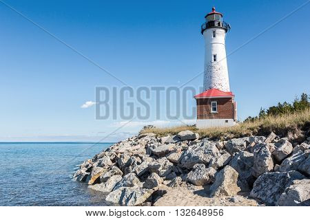 Crisp Point Lighthouse on the shores of Lake Superior in the Upper peninsula of Michigan