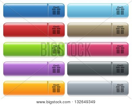 Set of gift box glossy color menu buttons with engraved icons