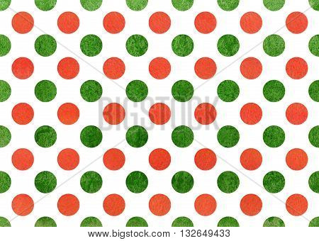 Watercolor Orange And Green Polka Dot Background.