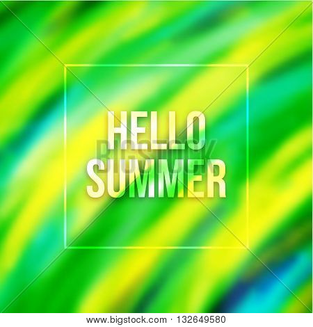 Hello summer text on blurred background with Brazil colors. Abstract blurry pattern in green yellow and blue colours. Vector illustration
