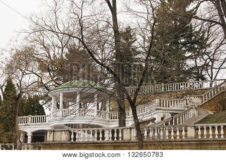 Stair railings transitions. Architecture and attractions of the city of Kislovodsk.