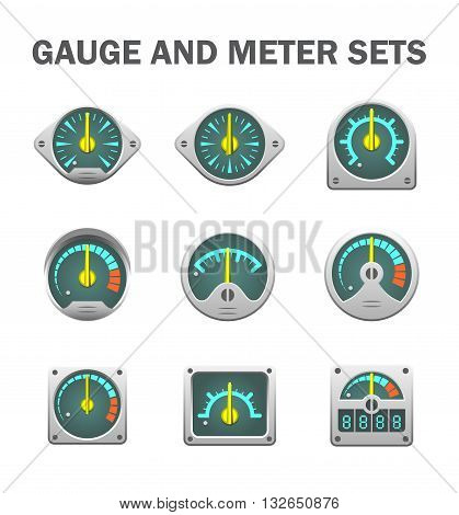 Vector design of gauge or meter sets isolated on white background.
