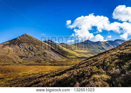 Mountain Range And Valleys In Kerry In Ireland On A Sunny Day With Blue Skies