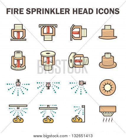 Vector icon design of fire sprinkler system include fire sprinkler head, spray water and smoke detector.