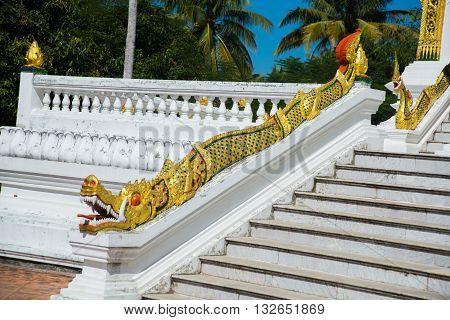 Buddhist Temple With Gold.luang Prabang.laos.