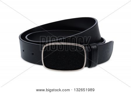 Leather black belt with metal black buckle on white background