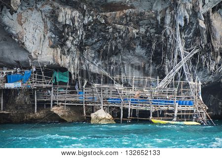 Krabi Thailand - may 22, 2016: Viking cave where bird's nests are collected. Phi-Phi Leh island in Krabi , maya , island , Thailand.
