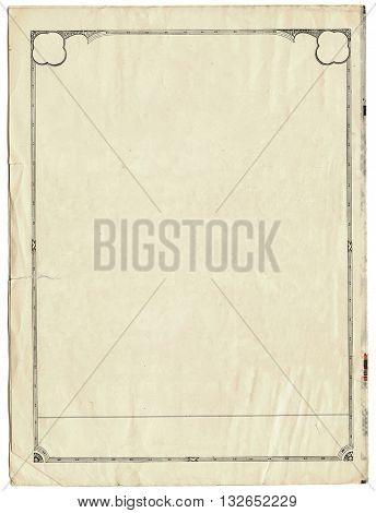 Vintage sheet of paper with an art deco border