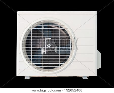 Air compressor with clipping path isolated on black background.