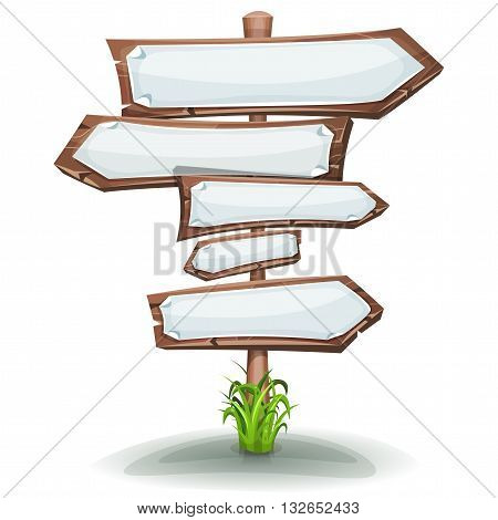 Illustration of a cartoon comic wooden stake with road and transportation arrows and white empty paper signs for advertisement messages or game ui graphic menu design