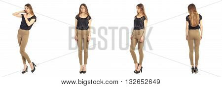 Young Beautiful Girl In Leggings Isolated