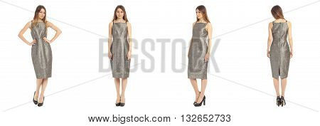 Young Beautiful Girl In Dress Isolated