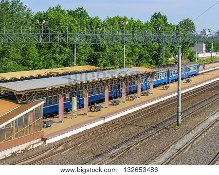 Minsk, Belarus - May 31, 2016 : The canopy above the platform and the train tracks on the