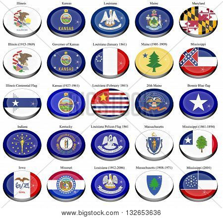 Set of icons. States and territories of USA flags.
