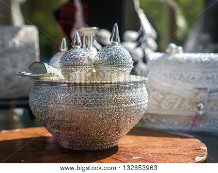 Antique Thai silver ware, art handicraft products