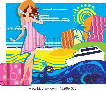 vector composition of traveler woman in resort