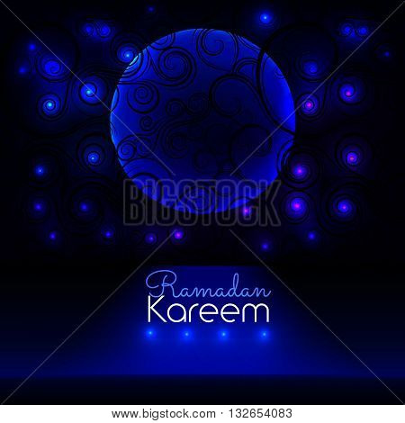Ramadan Kareem. Big window with a beautiful ornament in which stars and the moon are visible. Greeting background vector illustration eps10