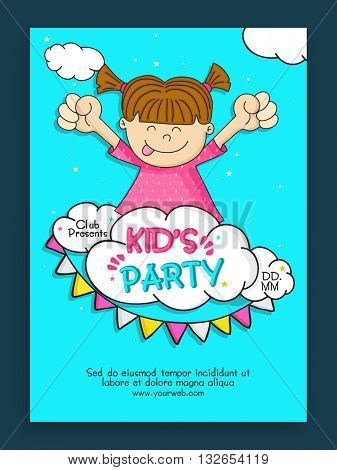 Kids Party Template, Banner, Flyer or Invitation Card design with doodle illustration of a cute little girl on sky blue background.