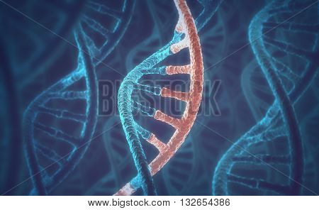 3D illustration, concept of DNA and RNA molecules.