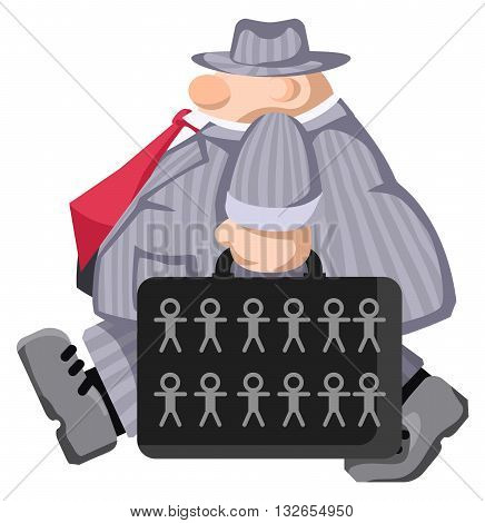 Cartoon character briefcase carrying figures, vector illustration, horizontal, isolated, over white