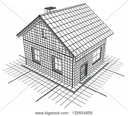 House blueprint design black and white isolated 3d illustration horizontal