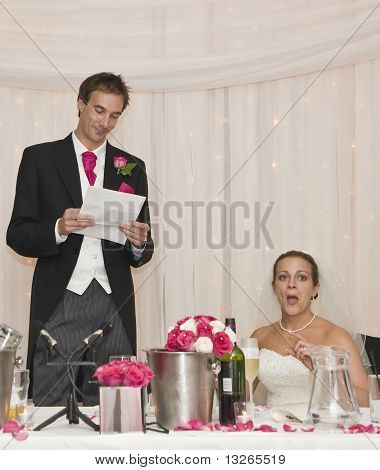 Bride's Natural Reaction To Groom's Speech At Real Wedding