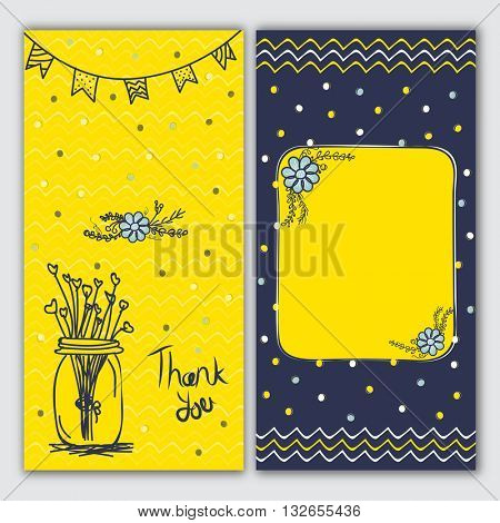 Set of trendy hand drawn greeting or invitation card, Creative backgrounds with doodle floral ornaments, Beautiful cards with place for your wishes.