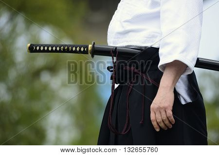aikido with the traditional japanese sword fighter