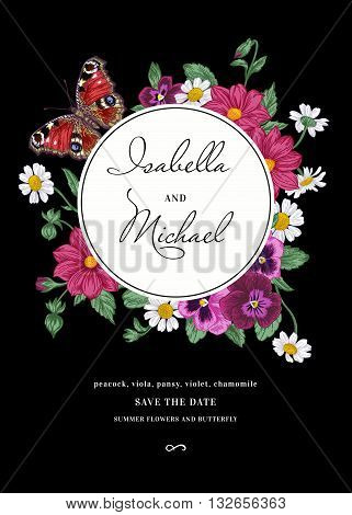 Vintage wedding invitation in the bohemian style. Round frame with summer flowers and a butterfly on a black background. Pansies daisies violet dahlia. Design elements.