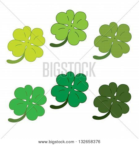 Clover Leaves Colorfull Icon Set.