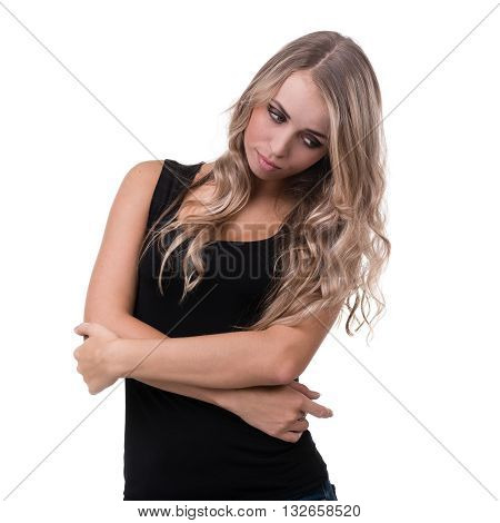 portrait of sad and depressed woman isolated on white with copyspace studio shot