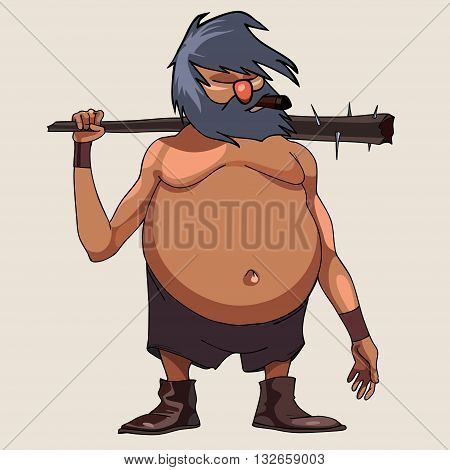 cartoon character big-bellied man with a cudgel