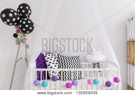 Black, White And Purple Colors In Princess Bedroom