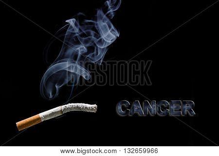 Burned cigarette and text Cancer on black background