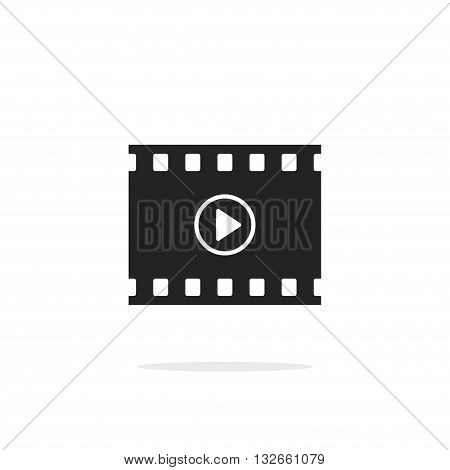 Filmstrip with play button vector icon isolated on white backgorund, video film cinema symbol movie concept
