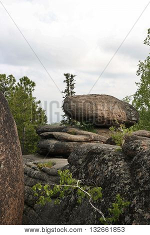 Rocks in the Siberian taiga. The nature reserve Stolby.